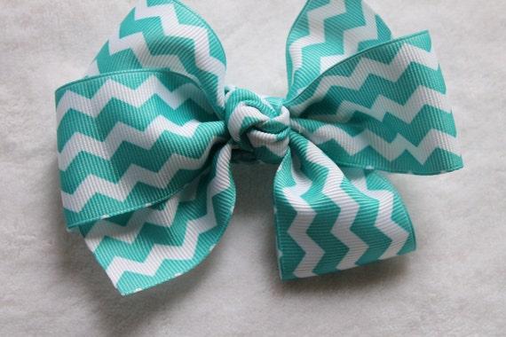 Chevron Bow, teal hair bow, girls hair bow, hair accessory, chevron bow