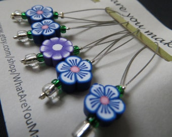 Snagless stitch markers, blue and purple polymer flower beads, 25mm loop