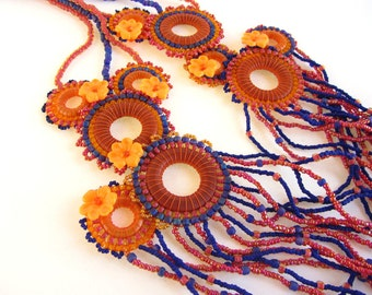 Long Cascading Floral Necklace in Pink Orange and Purple