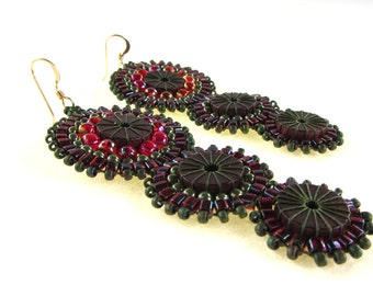 Olive and Ruby Wood and Bead Triple Efflorescence Earrings