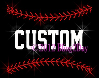 Baseball Stitching - Customize Name - Iron on Rhinestone Transfer Bling Hot Fix Custom Sports - DIY