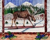 Cross Country Skiing Moose, reproduction of original watercolor painting, moose art, nordic ski, skiing art, winter scene, woodland animal
