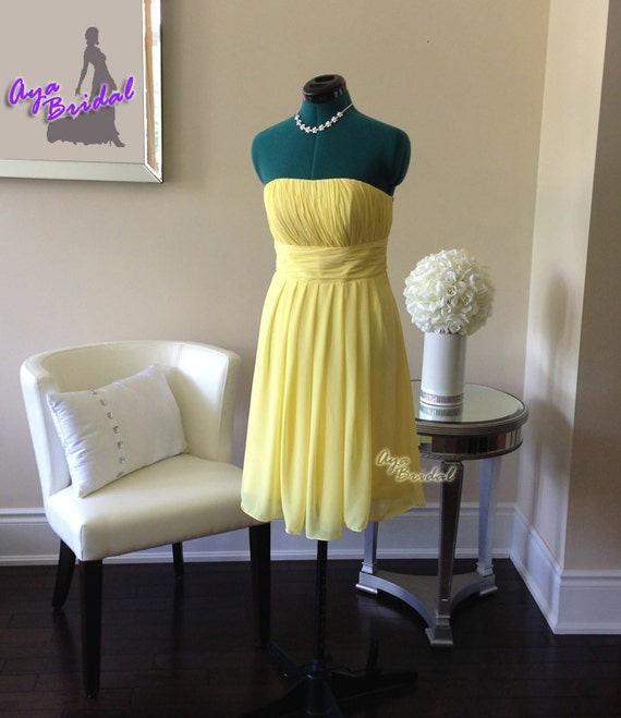 Yellow Bridesmaid Dress/party dress/strapless dress/knee length /Aqua Dinner dress/ Blue Strapless Prom dress/ handmade Wedding