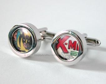 Xmen Wolverine Marvel Comics Silver Cufflinks - Groomsmen Gift - Mens Cufflinks - Gift for HIm - Best Man Gift - Birthday- Wedding Cufflinks