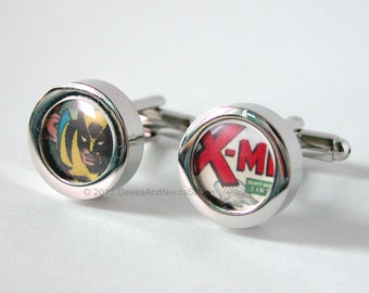 Xmen Wolverine Marvel Comics Silver Cufflinks - Groomsmen Gift - Mens Cufflinks - Gift for HIm - Best Man Gift - Father's Day Gift