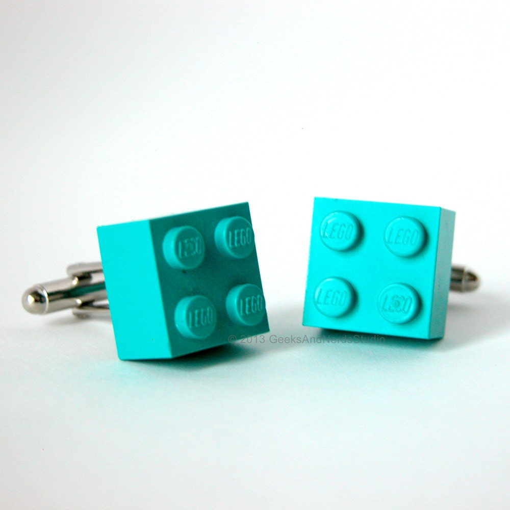 Made With Lego Bricks Teal Turquoise Brick Cufflinks Mens