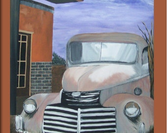 Antique Car Hand Painted On Canvas