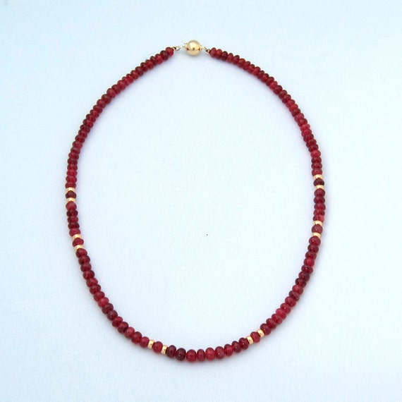 Necklace with Eudyalite, 17.5 inches
