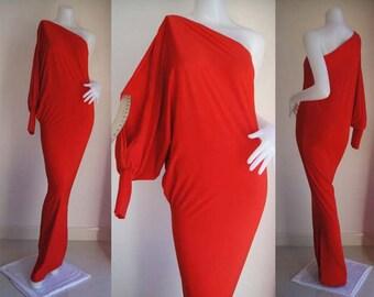 Red one shoulder splited sleeve Long evening dress elegance all size