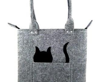 Cat handbag Felt purse Bag for women Gray bag Felt bag Designer handbag Felted bag Modern