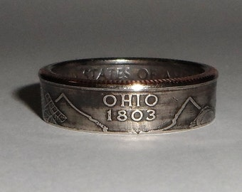 OHIO   us quarter  coin ring size  or pendant