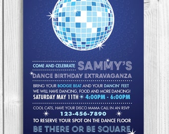 Printable Birthday Party Invitation - DISCO DANCE PARTY