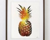 Pineapple Art Watercolor Painting - 8x10 Archival Print - Yellow, Orange Pineapple Colorful Art - Silhouette Art Wall Decor, Kitchen Decor