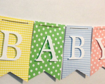 Pastel Baby Shower Banner, Baby Shower Decorations, Party Decorations
