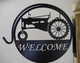 Tractor Welcome Metal Plant Hanger