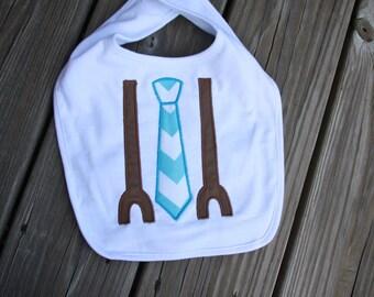 Personalized Tie & Suspenders Bib OR burp cloth