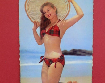 Vintage Pin Up Girl Beach Photo postcard France 1950's - 4