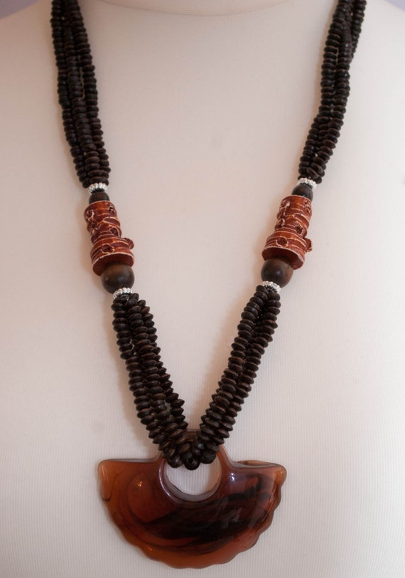 items similar to chunky necklace made of wooden with