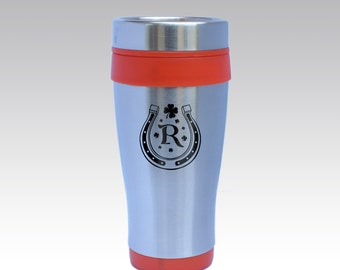 Stainless Steel Insulated Travel Mug with Personalized Monogram, Design Options and Font Selection (Choose Any Color Option - Each - 16 oz)