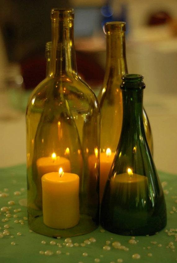 Items similar to repurposed wine bottle hurricane lantern