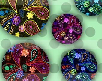 Floral  (018) Digital Collage Sheet 4x6 bottle cap images .. Bottlecap glass tiles ..
