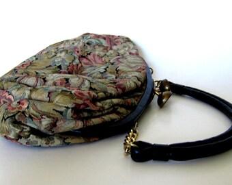 Purse Floral Black and Gold 1960s Vintage Ingber Handbag Botanical Womens Purse Tapestry Bag Fabric Bag