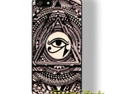Triangle eye iphone case - Triangle eye on mysterious symbol on hard case for iphone 4 iphone 4s iphone 5 iphone 5s iphone 5c