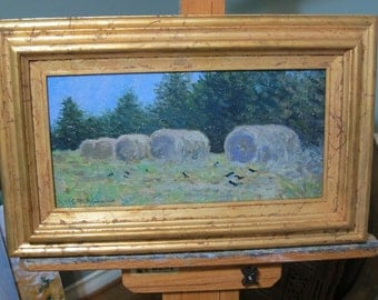 "Row of Haystacks, Landscape - Original Oil on Panel - 8x16"" Impressionist style painting."