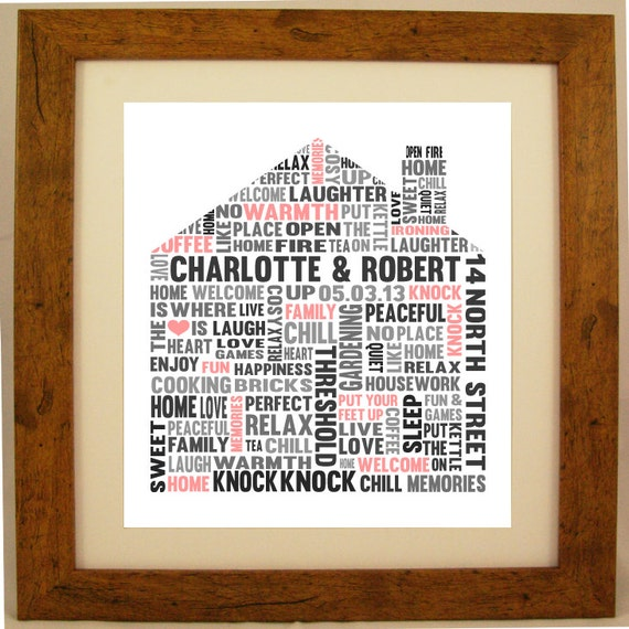 Personalised Home Is Where New Home Gift Print By: Personalised New Home House Shaped Word Cloud Art By