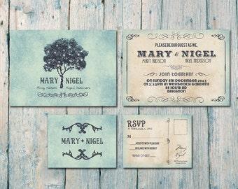 Digital - Printable Files - Romantic Tree and Lights Wedding Invitation and Reply Card Set - Wedding Stationery - ID166