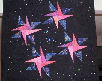 Starry, Starry Night Wall Hanging Quilt - OOAK