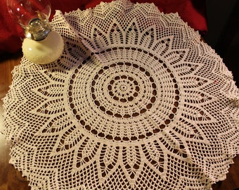 Doily, Crochet, Handmade, Ecru, Cotton, Round, Joy Burst, Home Decor
