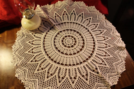 Doily, Crochet, Handmade, Ecru, Cotton, Round, Joy Burst, Home Decor