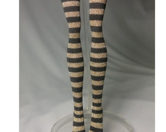 Dolls stockings for Monster high doll  Black and gold stripes  MH019