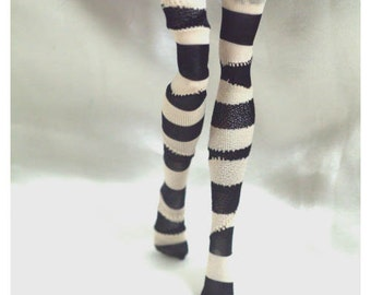Dolls stockings for Monster high doll  Black and beige stripes   No.502