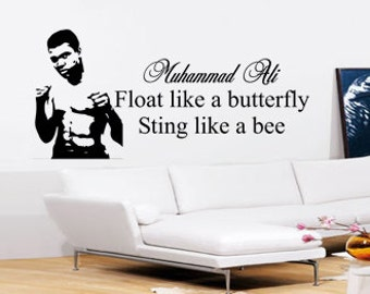 Muhammad Ali Wall Art - Vinyl Wall Art Sticker Decal - Float Like A Butterfly Living Room, Bedroom, Hall