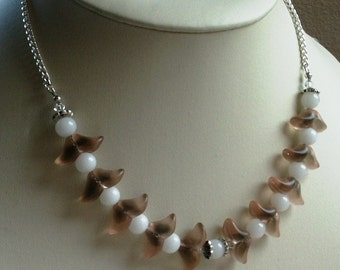 Demi Parure Necklace and Earrings Set Vintage Deco Frosted Florets and Milk Glass Rounds