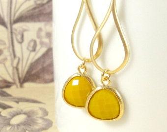 Gold Earrings : Mustard Yellow Petals