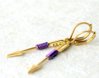 Gold Arrow Earrings - purple wire wrapped brass arrow earrings - Arrow Earrings - Arrow Jewelry - Amethyst - Aquarius - boho chic
