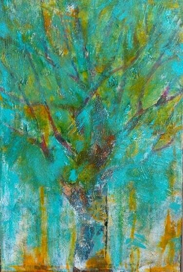 Original Landscape Painting Teal Tree Large Acrylic Art Painting Tree Landscape Wall Art Artwork