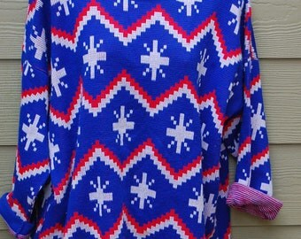 Vintage 80s Turtle Bay Tribal Aztec Oversize Union Jack Red White Blue Long Baggy Sweater Size L/XL