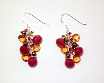 Mia - Ruby, citrine, pyrite, garnet, red spinel, and smoky quartz earrings