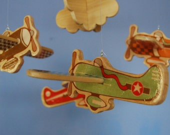 Baby Mobile - Baby Crib Mobile - Wooden Vintage Airplanes - Airplane Nursery