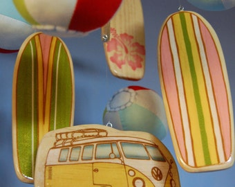 Baby Mobile Beach - Surfboards with Plush Beach Balls - Day at the Beach Mobile - Surf Baby Nursery