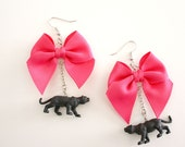 Tiny Black Panther & Pink Bow Earrings