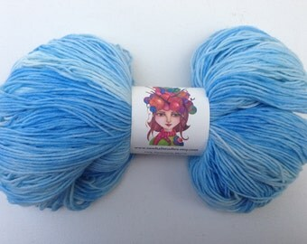 Fingering Weight Hand Painted Hand Dyed Sock Yarn, Pastel Sky Blue- Tonal 462 Yards