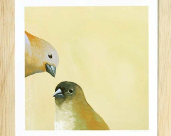Might As Well Stop Pretending The Unpleasantness Never Occurred 8 x 8 Art Print - Bird - Animal - Pair - Finches - Gift - Giclee