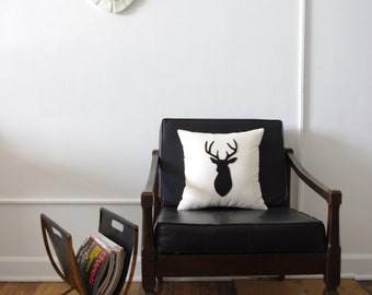 Black on Linen Stags Head Silhouette Decorative Deer Pillow
