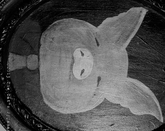 Three Little Pigs Folk Art Fairytale Portrait in oval Frame OOAK Pig in neck tie
