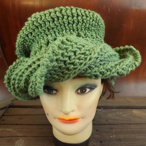 Haute Crochet Hat, Steampunk Couture, Slouch Beanie, Turban Hat for Women, Crochet Hat Womens Hat, Samantha Sage Green Hat, Haute Couture